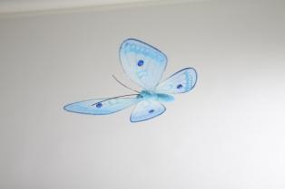 Kinderkamer lamp accessoire: Vlinder doorschijnend (Blauw)