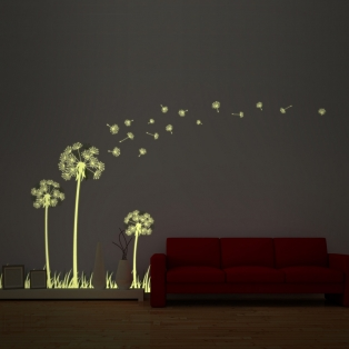 Kinderkamer lamp accessoire: Glow in the dark Dandelion