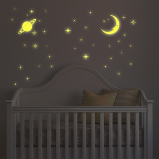 Kinderkamer lamp accessoire: Glow in the dark Moon and Star