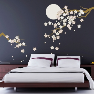 Kinderkamer lamp accessoire: Wanddecoratie Bloesem in maanlicht